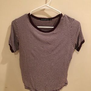 Brandy Melville Maroon striped Shirt